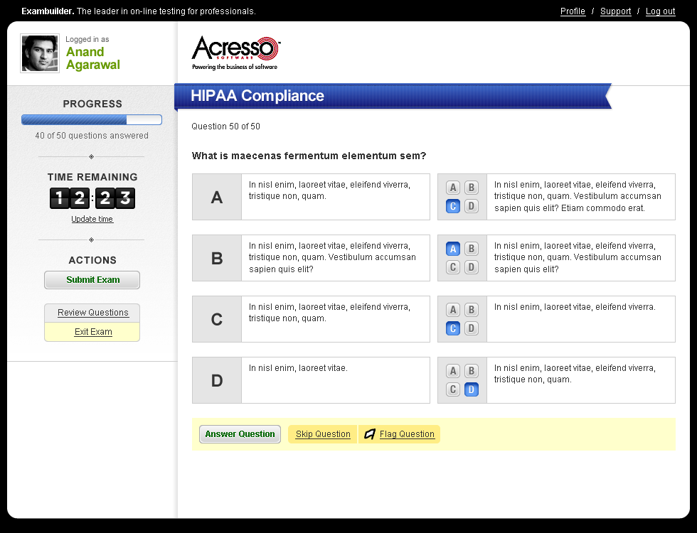 Image of the Exambuilder.com exam review page