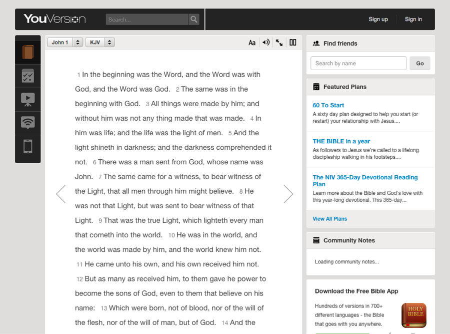 Screenshot of the old reader section