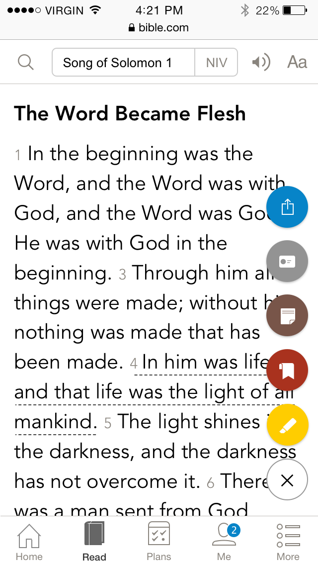 Screenshot of the bible.com mobile site