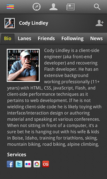 Image of a users profile page in the Android app