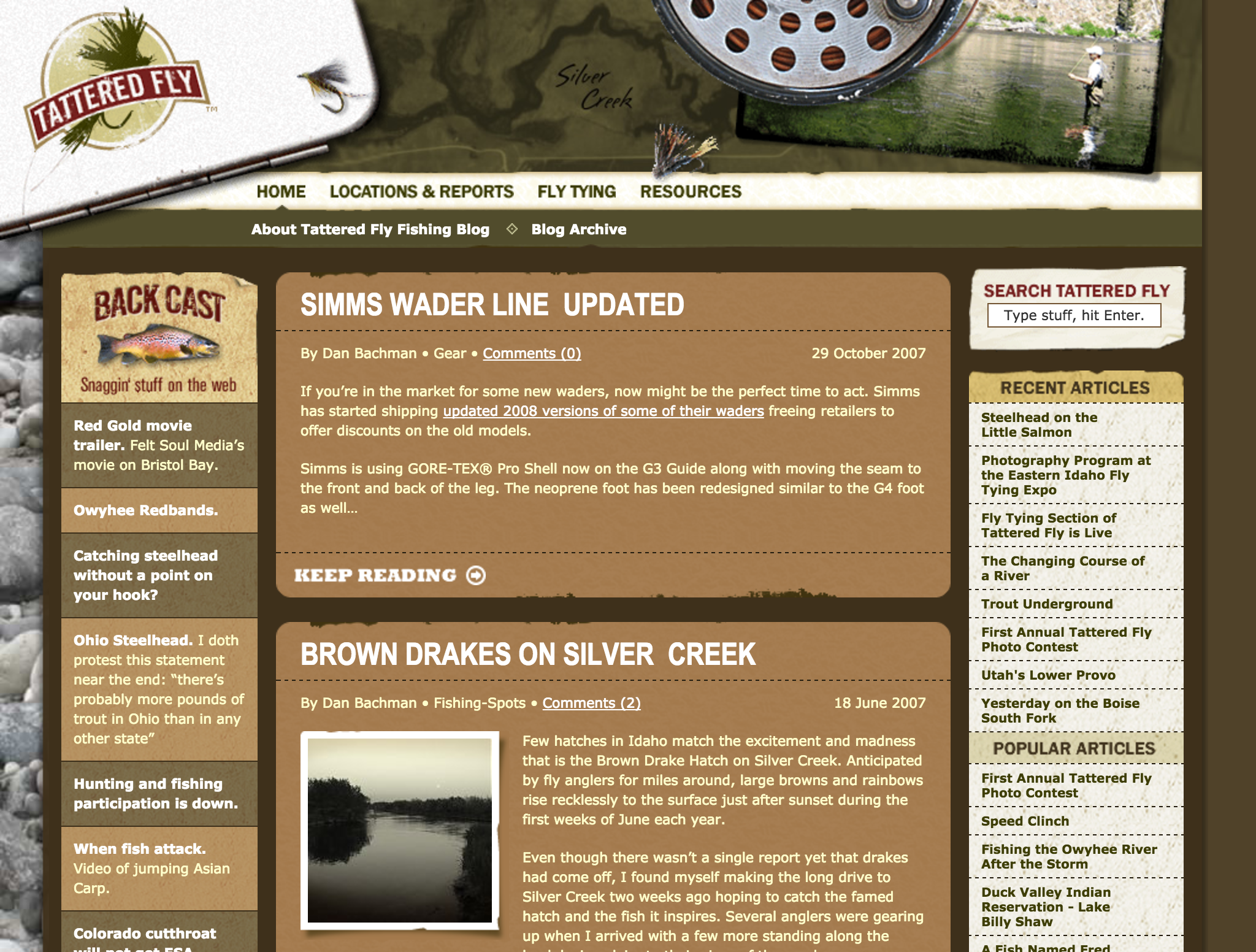 Image of the tatteredfly.com home page after the redesign