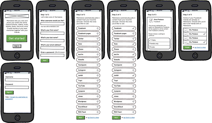 Wireframes of the sign up process in the Android app