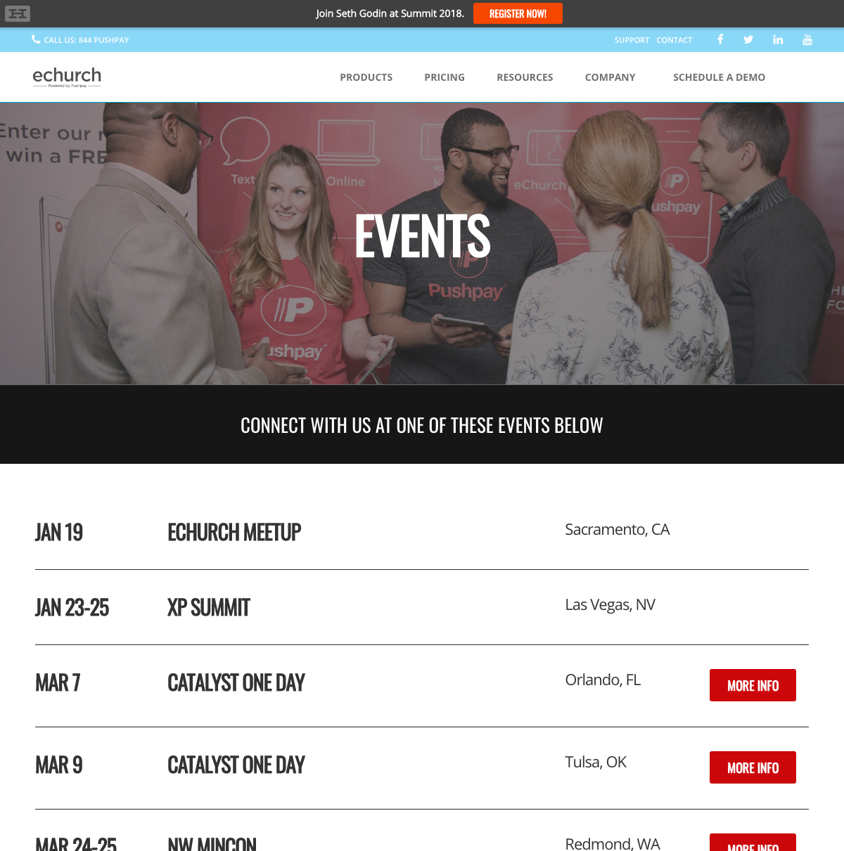 Image of the old events page