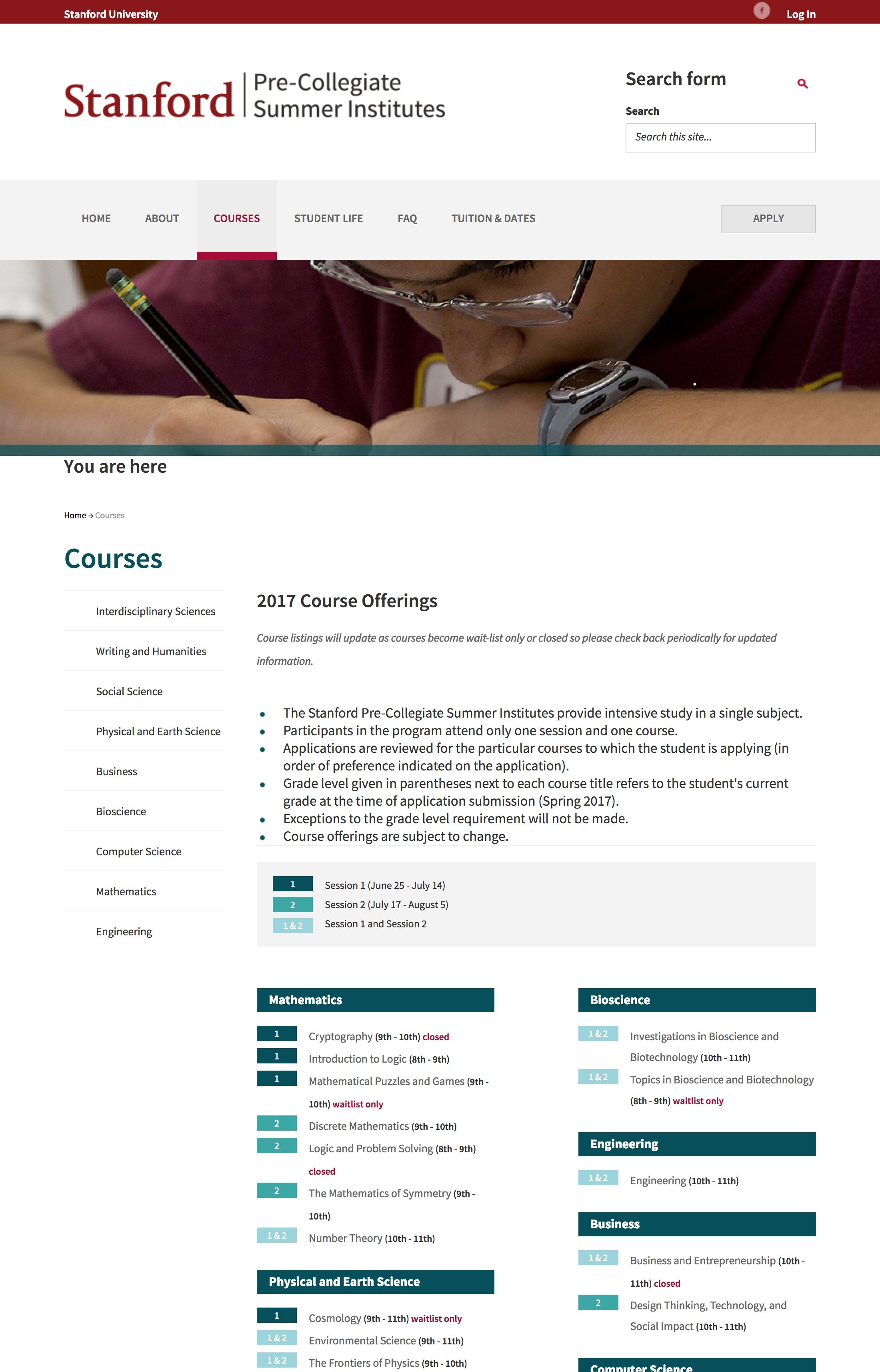 Screenshot of the old courses page