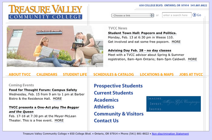 Screenshot of the old home page